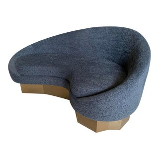 Custom Charcoal Gray Faux Shearling Curved Chaise For Sale