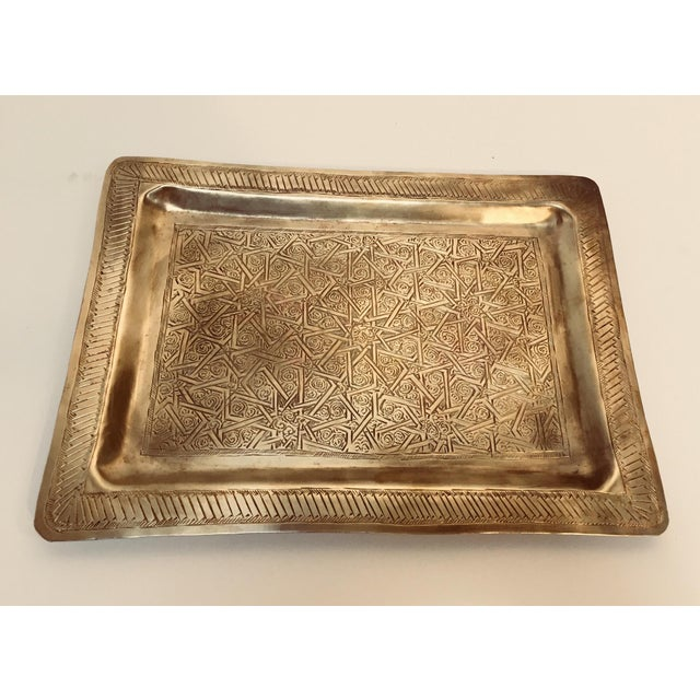 Spanish Moorish Rectangular Brass Tray For Sale - Image 4 of 12