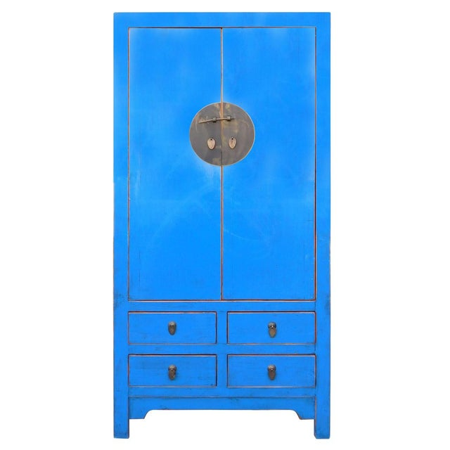 Tall Chinese Armorie in Rustic Blue - Image 1 of 6