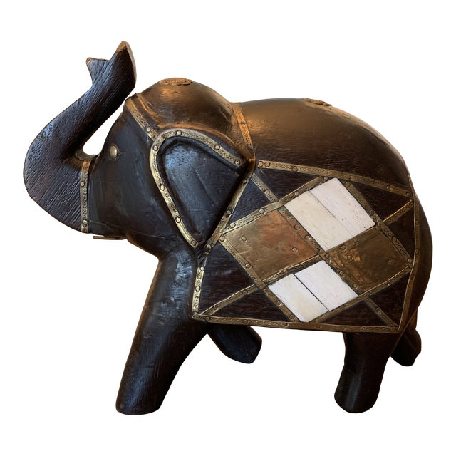 Carved Wood & Brass Elephant Figurine For Sale