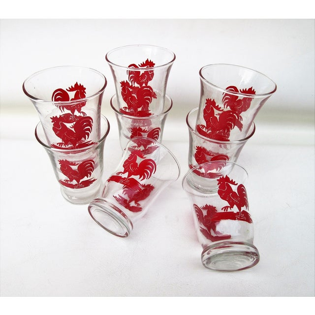 Libbey Glass Co. Libbey Rooster Juice Glasses - Set of 8 For Sale - Image 4 of 8