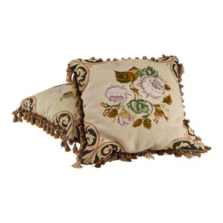 19th Century Floral Embroidered Needlepoint Pillows - A Pair For Sale