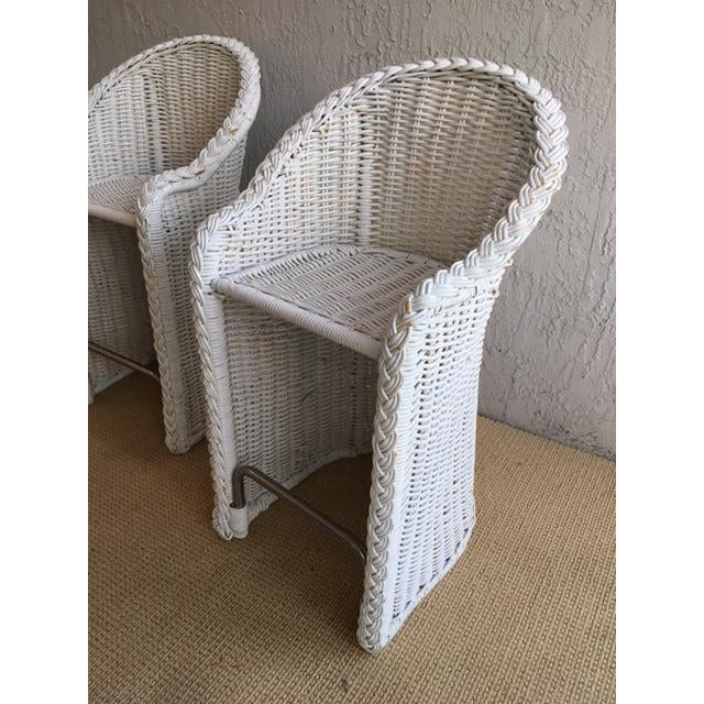 1970s Woven Rattan Bar Stools - a Pair For Sale - Image 5 of 9