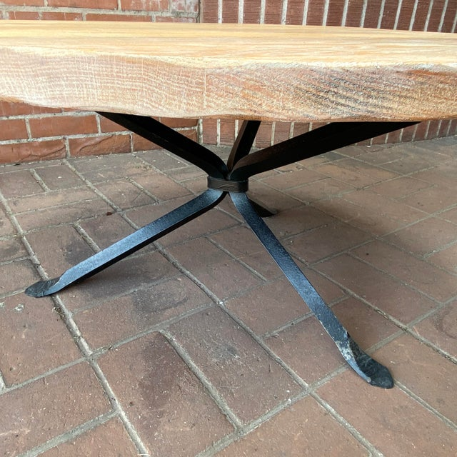 Cleo Baldon Wrought Iron and Whitewashed Oak Coffee Table For Sale In Phoenix - Image 6 of 12