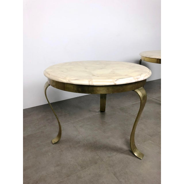1960s Pair Muller's Onyx & Brass End Tables, 1960's For Sale - Image 5 of 11
