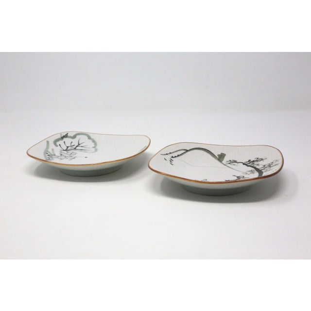 1990s Hand-Painted Fishermen Trinket or Snack Dishes - a Pair For Sale - Image 5 of 10