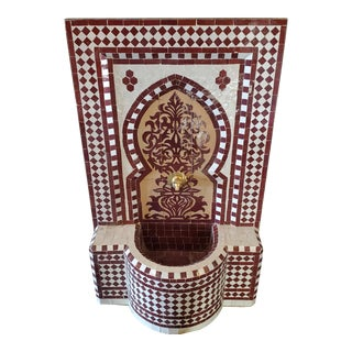 Burgundy and Tan Moroccan Mosaic Fountain For Sale