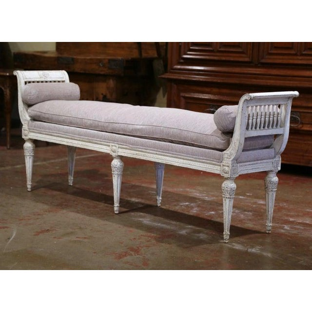 19th Century French Directoire Carved Painted Banquette With Back and Upholstery For Sale In Dallas - Image 6 of 11