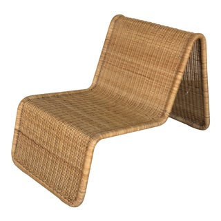 1960s Vintage Tito Agnoli Wicker P3 Lounge Chair For Sale