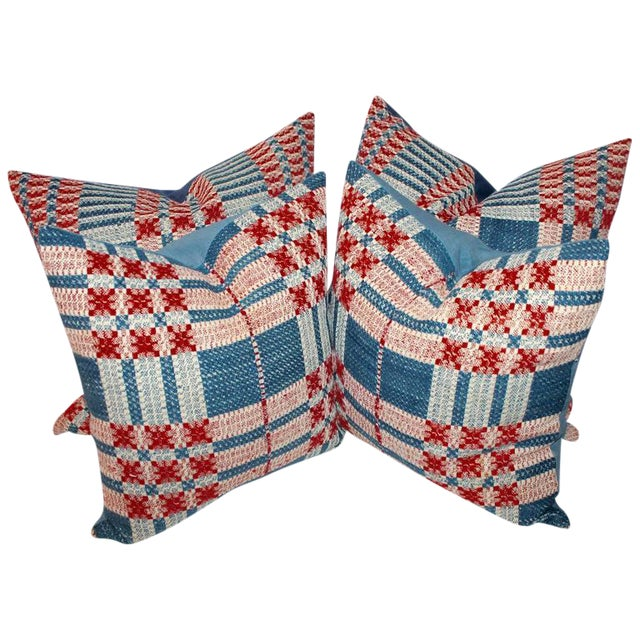 19th Century Hand-Woven Jacquard Coverlet Pillows, Pair For Sale