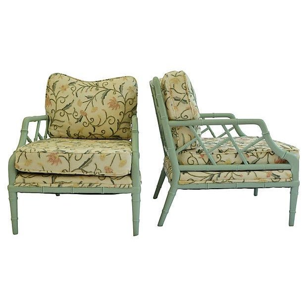 Crewel Faux-Bamboo Lounge Chairs - A Pair - Image 2 of 7