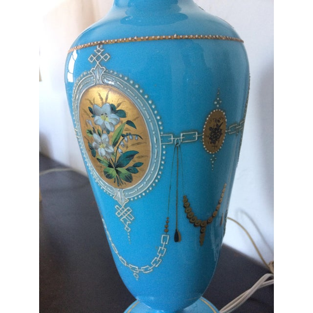 Pair of Table Lamps Antique French Blue Glass Opaline - Image 5 of 6