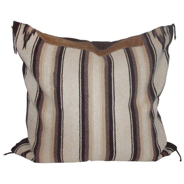 Navajo Indian Weaving Saddle Blanket Pillow With Leather Trim For Sale - Image 9 of 9