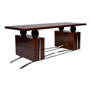 French Modernist Macassar Ebony Desk With Polished Nickel Base and Hardware For Sale