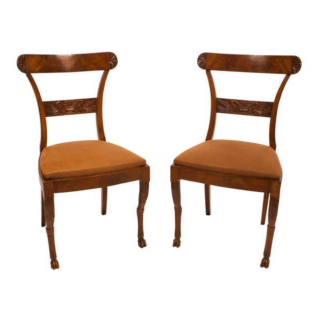 Wood Walnut Neoclassical Side Chairs - A Pair For Sale - Image 7 of 7
