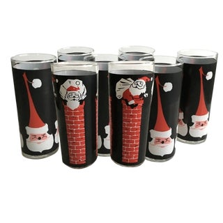 Vintage Santa Christmas Cocktail Glasses – Set of 8 For Sale