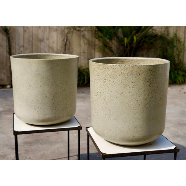 Gray 1960s Vintage Malcolm Leland Architectural Cylinder Planters- a Pair For Sale - Image 8 of 8