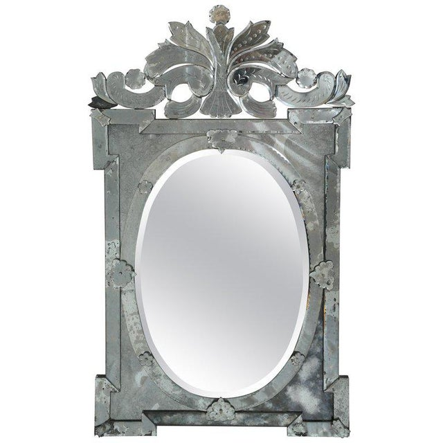 Monumental Antique Venetian Mirror With Scrolled and Hand-Etched Designs For Sale - Image 9 of 9