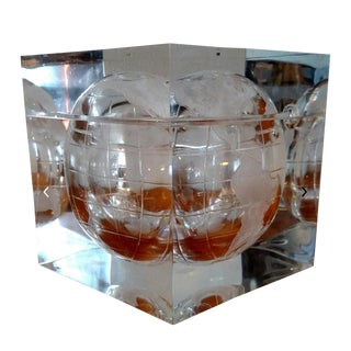 1970s Vintage Alessandro Albrizzi Globe Lucite Ice Bucket For Sale