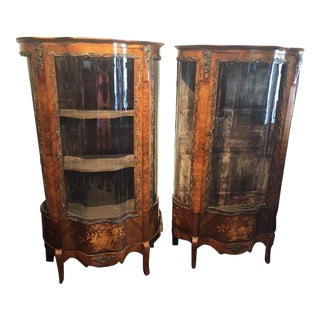 Antique French Rosewood and Marquetry Serpentine Front Display Cabinets - A Pair For Sale