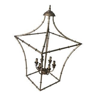Chinoiserie Pagoda Faux Bamboo Wired Chandelier