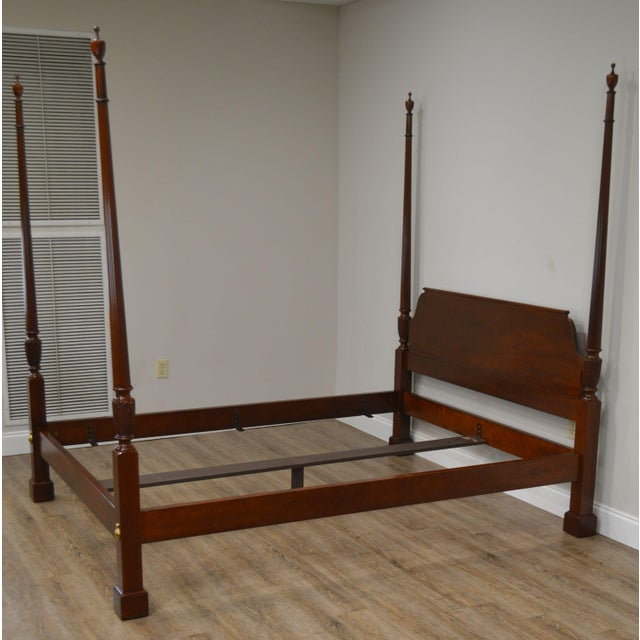 Baker Mahogany Queen Size Chippendale Style Poster Bed For Sale - Image 9 of 13