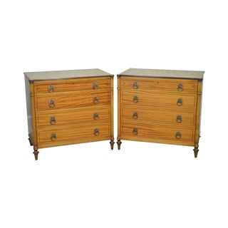 Kittinger Regency Style Pair of Satin Wood Chests of Drawers For Sale