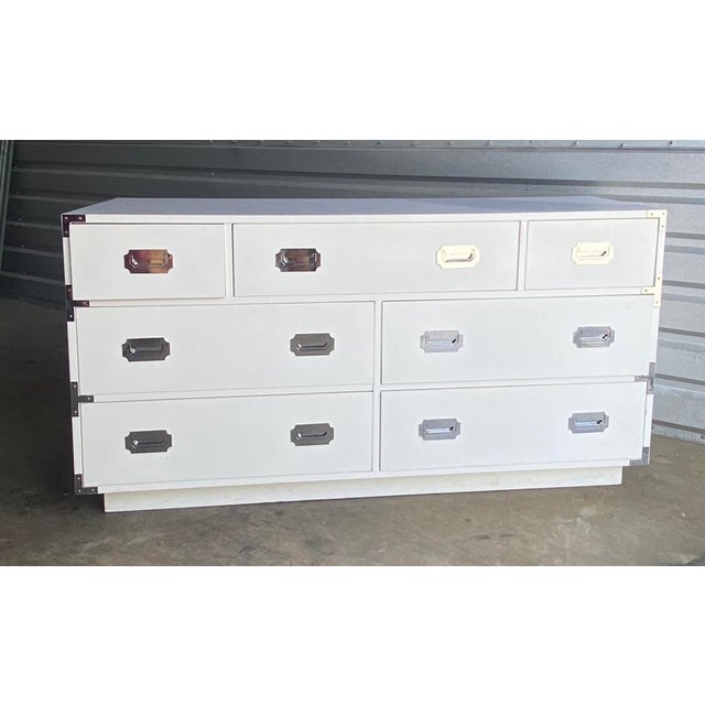 Dixie Furniture Co. Contemporary Dixie Campaigner Lowboy Dresser For Sale - Image 4 of 5