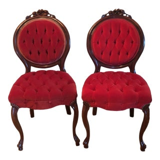 1950s Mahogany Red Velvet Parlor Chairs - a Pair For Sale