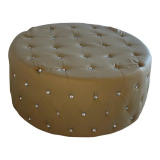 Pasargad DC Taupe Pu Leather Ottoman For Sale