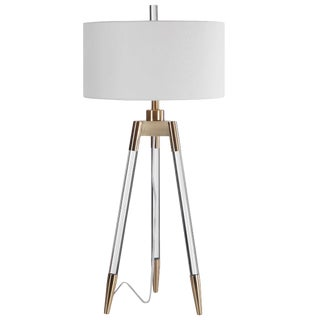 Tripod Table Lamp with Acrylic and Brushed Brass Legs and Shade For Sale