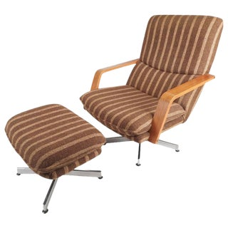 Mid-Century Teak & Chrome Swivel Lounge Chair With Ottoman For Sale