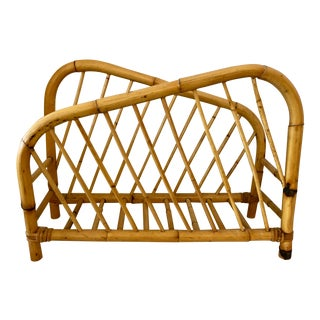 Burnt Bamboo Magazine Rack From 70's For Sale