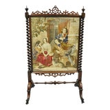 Image of 19th Century Antique Victorian Rosewood & Figural Needlepoint Spiral Carved Firescreen For Sale
