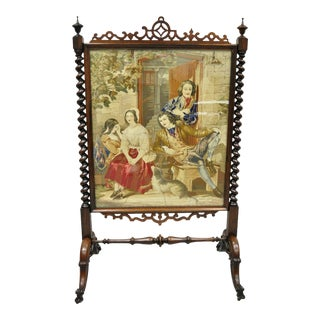19th Century Antique Victorian Rosewood & Figural Needlepoint Spiral Carved Firescreen For Sale