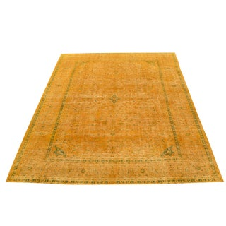 "Vintage Dark Yellow Hand Knotted Rug - 13'1""x9'6"""