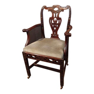 Chinese Export Chippendale Style Armchair, Late 18th Century For Sale