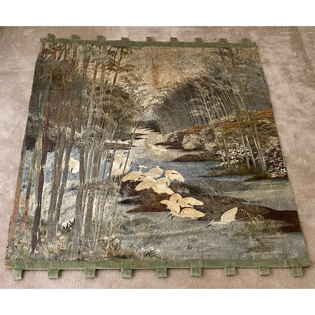 Japanese Antique Japanese Scenic Crane Bamboo Silk Hanging Wall Tapestry For Sale - Image 3 of 11