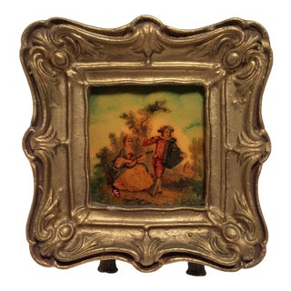 Miniature Hand Painted Tile in Gold Gilded Frame For Sale
