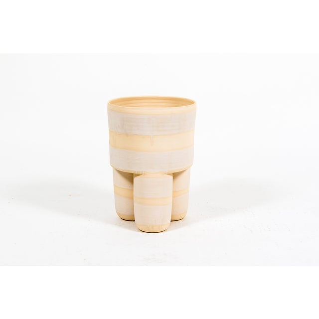 Contemporary Ceramic Milking Stool Planter For Sale - Image 3 of 3