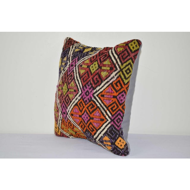 "Mid-Century Modern Turkish Cicim Kilim Cushion Cover 14"" X 14"" For Sale - Image 3 of 6"