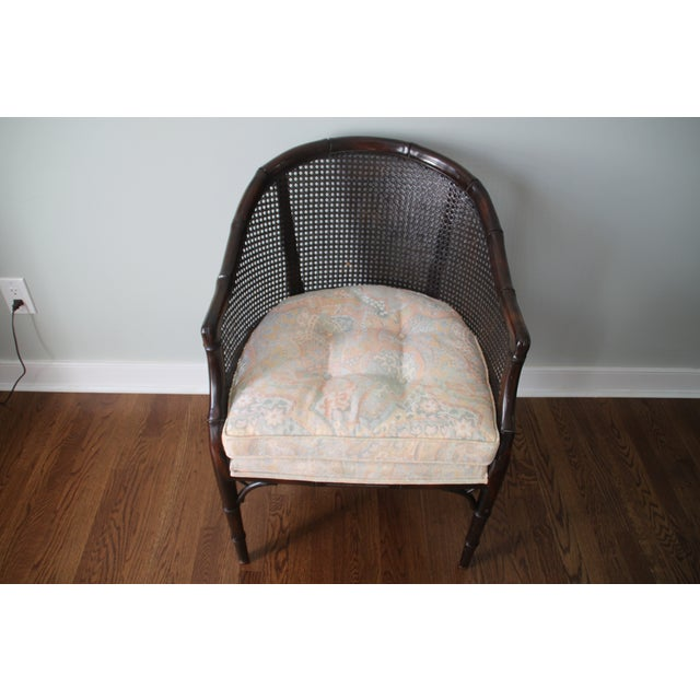Faux Bamboo & Cane Barrel Back Chair For Sale - Image 4 of 10