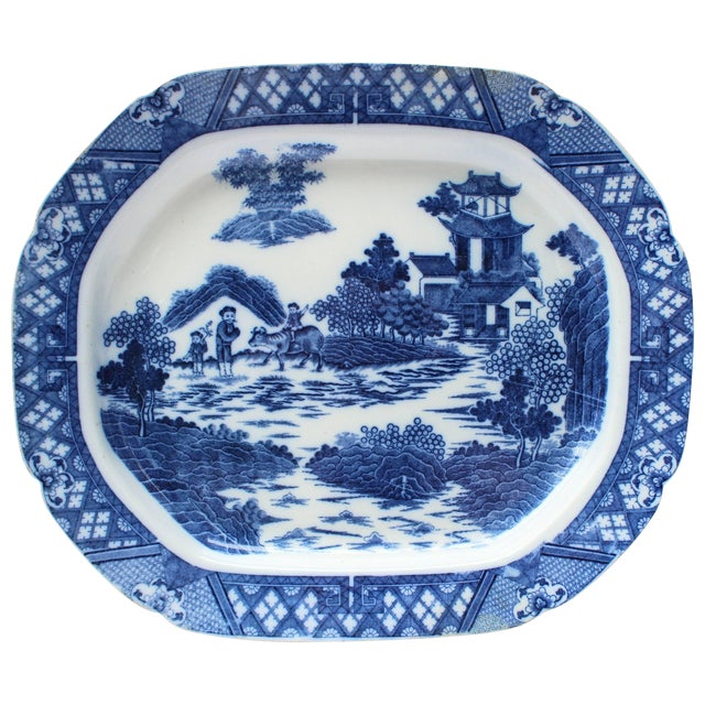 19th Century English Blue and White Transfer Ware Platter For Sale