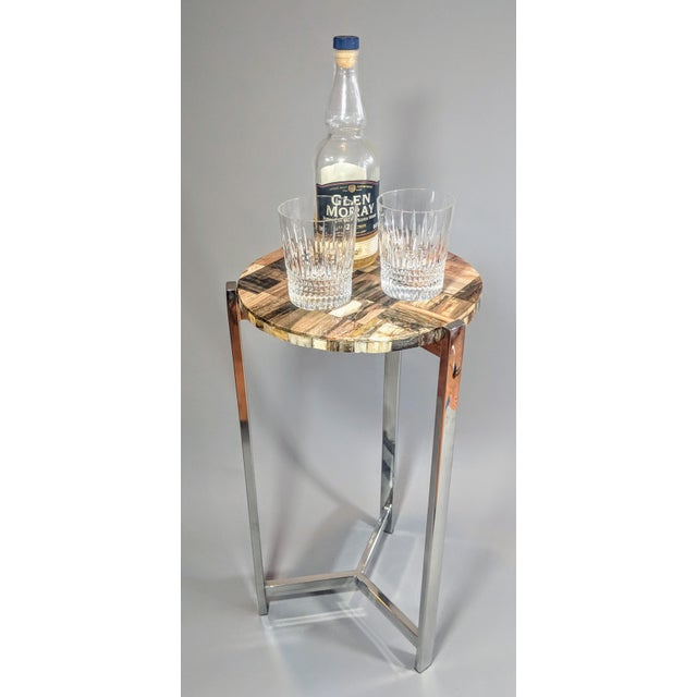 Organic Modern Petrified Wood and Chrome Side Table For Sale - Image 11 of 13