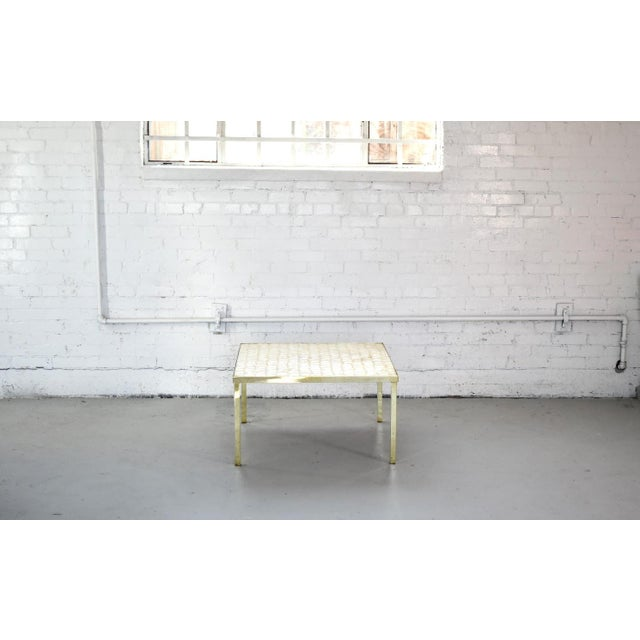 1970s Vintage Hollywood Regency Brass and Capiz Shell Accent Table Attribited to Billy Haines For Sale - Image 5 of 13