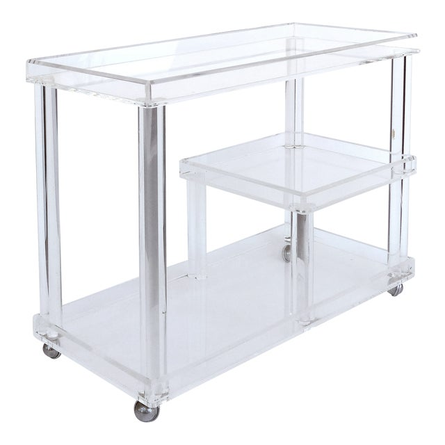 Rolling Lucite Bar Cart W/ 3 Levels of Storage For Sale