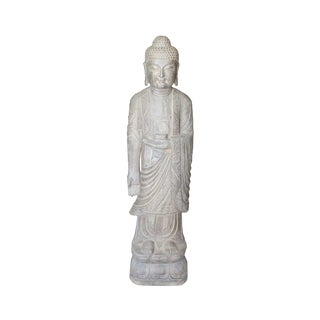 Chinese Light Gray Stone Carved Standing Medicine Buddha Statue For Sale