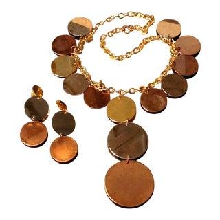 Vintage Copper Silver Gold Disc Statement Necklace & Earrings Demi Parure - 3 Pieces For Sale