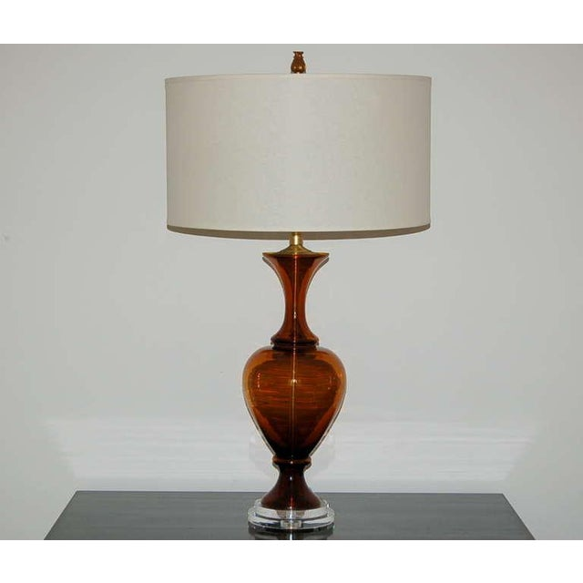 Hollywood Regency Marbro Vintage Murano Glass Table Lamps in Cognac For Sale - Image 3 of 9