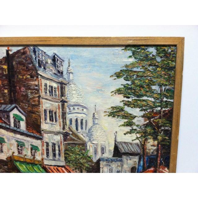 "Vintage Mid-Century ""Sidewalk Dining"" Original Canvas Painting For Sale - Image 4 of 7"